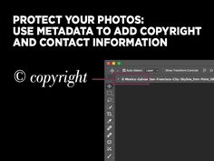 Protect your images with Photoshop metadata: Learn how to add copyright and contact information to protect your photos with Photoshop metadata. Then create a Photoshop action to repeat the process automatically. Photography Editing, Book Photography, Photography Business, Photography Tutorials, Digital Photography, Photoshop Tutorial, Photoshop Actions, Photo Retouching, Photo Editing