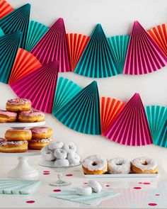 Easy, Festive Paper-Fan Bunting That's Perfect for Any Party | Martha Stewart Living - Take the bore out of party decor with super-easy paper fan bunting.