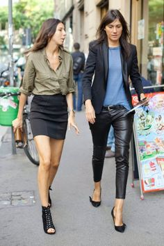 Damn, Geraldine can rock a pencil skirt.  And Emmanuelle makes those leather pants look pretty good, too.