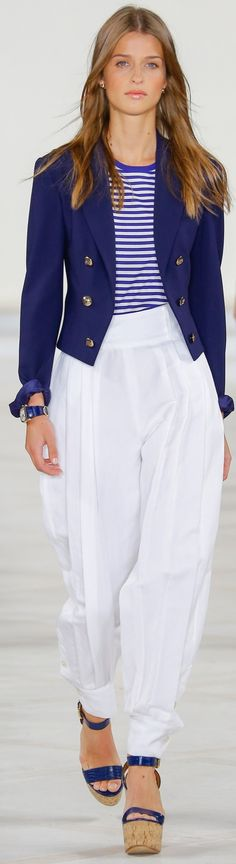 Spring 2016 Ralph Lauren Collection: A breton stripe and pleated linen pants for coastal romance tailor-made for the city