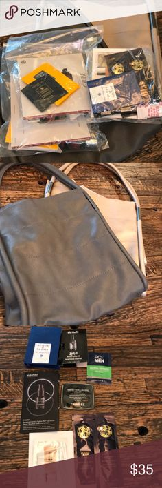 """Neiman Marcus Lot perfume/sample/make up new! 2 large tote bags one in gray one in gold, size: L 12""""xH 14""""xD6"""" drop: 9"""". 2 packages of Molton Brown body wash, Guerlain Orchidee Imperiale cream, Acqua Di Parma cologne, Cle De Peau cotton & Oribe shampoo & conditioner. Then a bag of samples: Chanel Perfection Lumiere Velvet tint,  PC4 Men soothe + SMOOTH by Paula's Choice, Kat Von D Lock-it setting mist, Acqua Di Parma Blu Mediterranean cologne, Algenist Power serum, Oribe shampoo/conditioner…"""