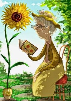 Reading by the sunflower.