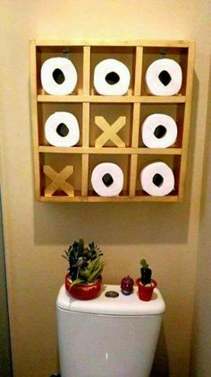 21 Best Toilet Paper Storage Ideas - Cool DIYs Tic Tac Toe Storage The decoration of home is similar to an exhibition space that reveals our very own tastes and design. Paper Storage, Diy Bathroom, Toilet Paper Storage, Diy Furniture, Wc Ideas, Wood Projects, Rustic Home Decor, Home Diy, Bathroom Decor