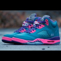 Retro 5 size 4 1/2 . 8 outta 10 condition Teal,pink,& purple retro 5 Air Jordan's Jordan Shoes