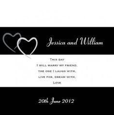 Sweethearts Square Invitation and Pocket in Black - DreamDay Wedding Invitations