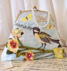 Romantic bag shabby chic purse bird handbag by by TatterAndWild, €47.00