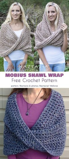 Crochet Shrug Mobius Shawl Wrap Free Crochet Pattern - The Mobius coil is an interesting geometrical figure which has two sides, but a single surface. It's made by taking a strip of material, giving Crochet Pattern Free, One Skein Crochet, Crochet Shawl Free, Crochet Shawls And Wraps, Crochet Motifs, Crochet Stitches, Prayer Shawl Crochet Pattern, Crochet Prayer Shawls, Knit Wrap Pattern