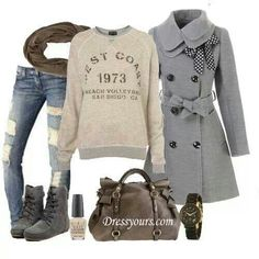 Classic fall look. Sweat shirt and jeans cute shoes. Adorable coat. I want the bag!