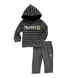 Hurley Newborn Striped Hoodie & pant Set | Dillards.com