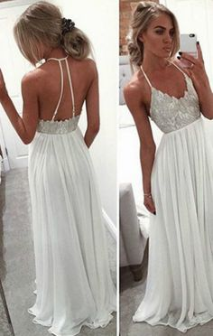 long prom dress, white prom dress, 2017 prom dress, sexy halter white long evening dress