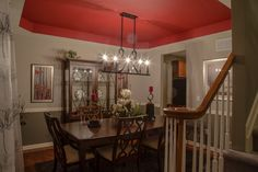 Dining Room with red tray ceiling and hardwood floors, Hickory Farms at Berkeley, Bayville, NJ