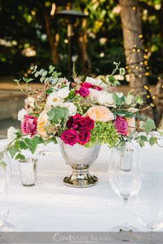Wedding reception centerpiece with ivy and roses by Dandelion Ranch in Los Angeles