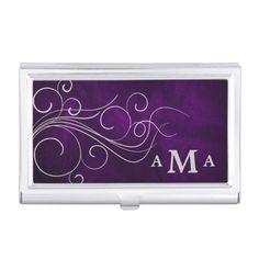Elegant Purple Silver Swirl Monogram Business Card Case