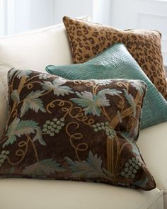 Brown & Teal Accent Pillows by Old Hickory Tannery at Horchow.