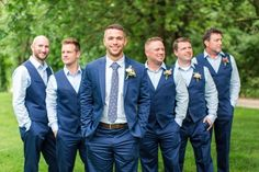 Wedding Groomsmen suits should be paid as much attention as bridesmaid dresses! We mean, they are your best friends, your brothers, the men that will see you get married even if you get cold feet! We have covered wedding attire groom related, but your groomsmen need their very own unique wedding tuxedos or suits or outfits that will make everyone know that those are the great men who will stand by your side while you go through the best day in your life and all those days to come! Groomsmen Attire Navy, Groom Outfit, Bridesmaids And Groomsmen, Groom Suits, Rustic Wedding Groomsmen, Navy Suits, Bridesmaid Dresses, Wedding Vest, Wedding Suits