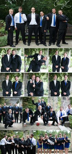 fun groomsmen poses --- I like the football and the bottom 2
