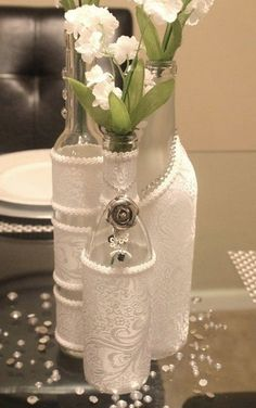 SET3 Decorated Wine Bottle Centerpiece White. by DazzlingGRACE
