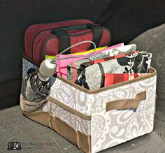 100 Ways to use the Thirty-One Functional Solutions - car organization kit. Flip-top organizing bin.