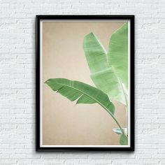 Banana Leaf Print Tropical Leaf Art Plant Print Tropical by MUNART