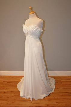 Empire Wedding Dress with Sweetheart Neckline and Cut Fabric Flowers - Renee Style - Avail & Company, LLC