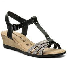 Sandály TAMARIS - 1-28218-20 Black Lea./Pew 054 Furla, Sandals, Shoes, Black, Fashion, Moda, Shoes Sandals, Zapatos, Shoes Outlet
