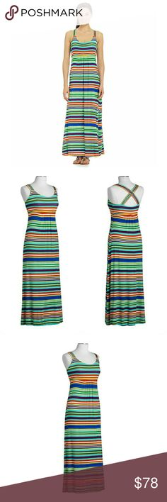 New! Calvin Klein Striped Cross-back Maxi Dress A long and slimming maxi, this elegant dress by Calvin Klein is perfect for casual wear, or can easily be dressed up for more dressy events.  Brand New With Tags   Allover striped pattern  Multiple spaghetti straps leads to cross-cross straps at back  Empire waist; Maxi silhouette  Jersey fabric - moves with your body  Scoop Neckline  Sleeveless  Pullover style  Self-lined at bust  Approximately 58 inches from shoulder to hem  Rayon/spandex…