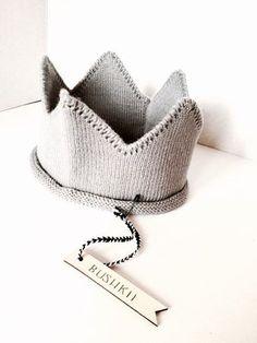 Moderne grau stricken Baby Krone Stirnband von BABYBUSHKii auf Etsy
