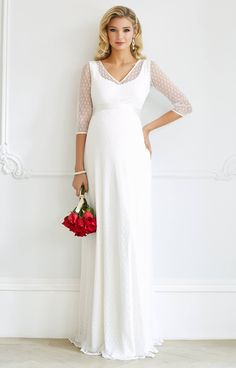 Silvia Maternity Wedding Gown Ivory - Maternity Wedding Dresses, Evening Wear and Party Clothes by Tiffany Rose Tiffany Rose, White Maxi Dresses, Maternity Dresses, Formal Dresses, Vintage Glamour, Pregnant Wedding Dress, Maternity Wedding, Maternity Style, Party Kleidung