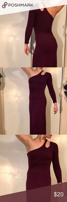 One shoulder Wine Maxi dress gown Gabriella Rocha Comfy wine colored purple maxi dress Sleeve on the left arm Lined from bust down to mid thigh  Great wedding dress gabriella rocha Dresses One Shoulder