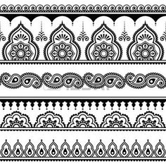 henna design: Mehndi, Indian Henna tattoo seamless pattern, design elements Illustration
