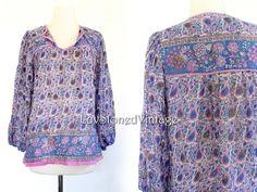 70s Vintage Indian India Sheer Cotton Gypsy Gauze Festival Boho Hippie Blouse Top Shirt . XS . SM . 808.5.18.14