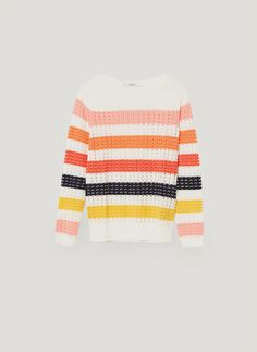 Uterqüe United Kingdom Product Page - Ready to wear - View all - Striped openwork sweater - 75 Striped Knit, Clothing Items, Girl Style, My Style, Color Inspiration, Business Women, Work Wear, Knitwear, Ready To Wear