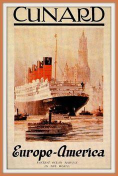 Cunard Line Travel Poster Print - 1920s