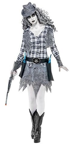 Smiffy's Women's Ghost Town Cowgirl Costume with Hat Waistcoat Belt and Dress, Grey, Small Smiffy's
