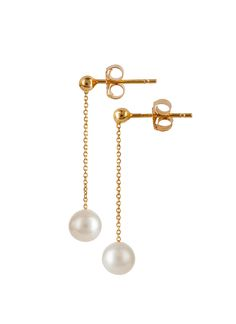 9ct gold drop pearl earrings from our Fine Jewellery Collection. An elegant freshwater pearl on a simple chain drop. #MoMuse #Irishdesign #artisan #design #dublin #jewellery #finejewellery #pearls #gold #fashion #style #classic #elegant