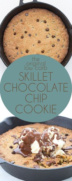 Ooey gooey low carb chocolate chip goodness. This is the dreamiest keto dessert! LCHF Grain-Free Banting THM Recipe. Best low carb skillet cookie recipe.  via @dreamaboutfood