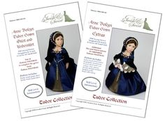 PDF Pattern Bundle #SS1530-02 & #SS1530-03. Anne Boleyn Tudor Gown EXTRAS plus gown skirt and underskirt designed to fit 16-inch A Girl for All Time dolls.  The current bundle is aimed to provide patterns and instructions to make a complete Tudor gown as pictured on the cover. Pattern #SS1530-02 includes:  Fully lined fitted bodice Detachable foresleeves French Hood with veil Velvet / Fur sleeves Double beaded necklace Beaded girdle Bead embroidery  This pattern is also available sep...