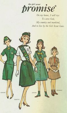 Girl scout pledge vintage image - great for scrapbook page