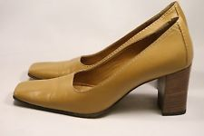 Women's Gucci Pumps Heels Mustard/Brown Leather Size 5 Italy