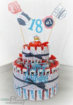 """Zum 18. Geburtstag für einen Kinderschokoladen-Liebhaber gab es eine entsprechende Torte. Die Girlande ist mit dem Set """"Gut gewappne..."""