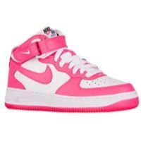 Nike Air Force 1 Mid - Girls' Grade School - White / Pink