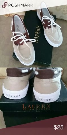 Ralph Lauren canvas loafer Khaki/dark brown canvas. Almost new. Wore once, a little too big for me. Ralph Lauren Shoes Flats & Loafers