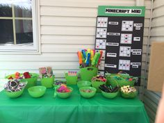 The prize table for the Minecraft scavenger hunt. Lots of stuff from Oriental Trading and the Dollar Store. Minecraft Birthday Party, 7th Birthday, Birthday Party Themes, Birthday Ideas, Minecraft Scavenger Hunt, Oriental Trading, Dollar Stores, Birthdays, Party Ideas