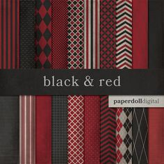 Black and Red Digital Paper  Chevron Paper  by paperdolldigital