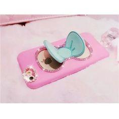 Süße Silkonhülle mit Diamanten verzierzer Schleife als Auflager für iPhone 5/5S/6/6 Plus