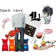 L: Death Note. Yes. I'm a geek. What's new? Best part of the outfit is the candy.