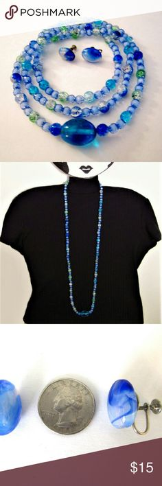 Necklace Earrings Set Blue Glass assorted colors blue beads. Marvelizes screw on earrings. Jewelry Necklaces