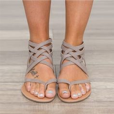 8e8fd000ad7a8b Women Sandals Fashion Gladiator Sandals For Women Summer Shoes Female Flat  Sandals Rome Style Cross Tied Sandals Shoes Women 43