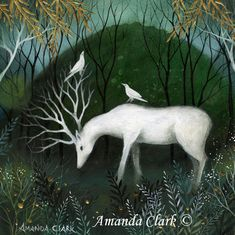 Special edition art print with gold leaf. The White Stag . Amanda Clark.
