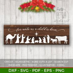 For Unto Us A Child is Born for Rustic Christmas Home and Farmhouse Decor. Personal and small business use - Beatiful Christmas Club Cricut Christmas Ideas, Christmas Nativity, Rustic Christmas, Christmas Projects, Christmas Home, Holiday Crafts, Christmas Holidays, Christmas Decorations, Christmas Ornaments